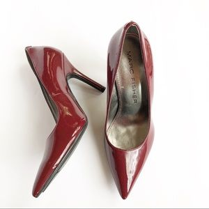 Marc Fisher pointed toe heels patent leather red